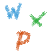 W, X and P in the relevant colours